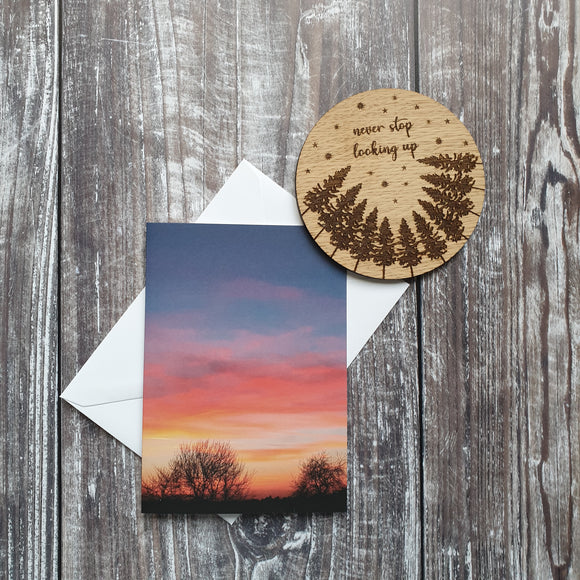 Sunset Through The Trees Photographic Greeting Card