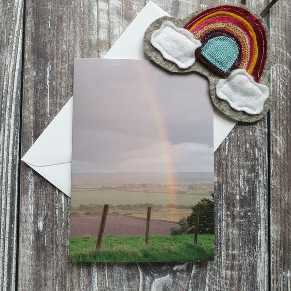 Rainbow over Lyth Hill Photographic Greeting Card