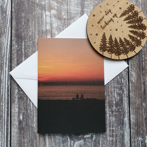 Sunset Watching Photographic Greeting Card