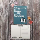 Happy Christmas Adelie Penguins  Postcard