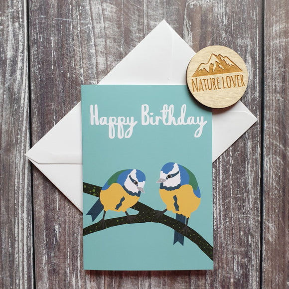 Bluetits Happy Birthday Greetings Card