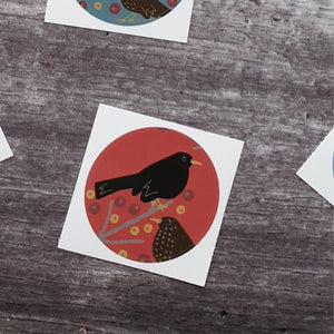 Blackbirds and Berries - spiced red 38mm Vinyl Sticker