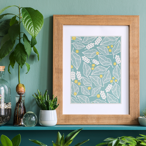 Beech Leaves - Blue Art Print