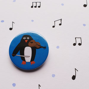 Folky Penguin Button Badge