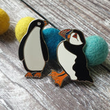 Puffin and Penguin Enamel Pin Duo Gift Set
