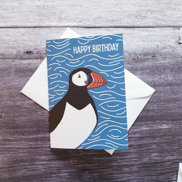 Happy Birthday Puffin greeting Card