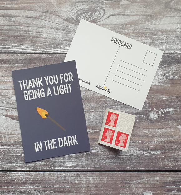 Thank You For Being the Light Postcard