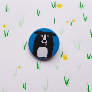 Collie Cuddler Button Badge - Large