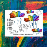 Rainbow Clouds Free Downloadable Colouring Printable