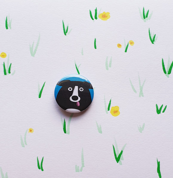 small collie cuddler button badge