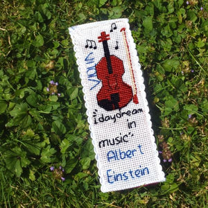 Violin and Einstein Cross Stitch Bookmark Kit