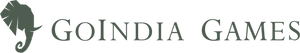 GoIndia Games horizontal green logo comprising of a logomark of an elephant looking sideways and a logotype of the brand name