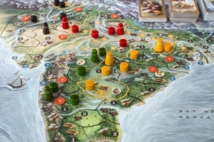 Board map with wooden components, tokens, and cards during a game in progress of Bharata 600 BC