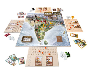 Board game components and board setup of Bharata 600 BC