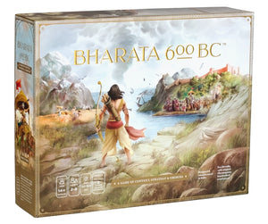 Front-facing box of the board game Bharata 600 BC