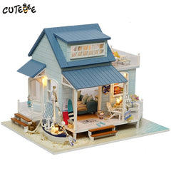 Doll House Miniature DIY Dollhouse With Furnitures Wooden House Toys For Children Birthday Gift Caribbean Sea