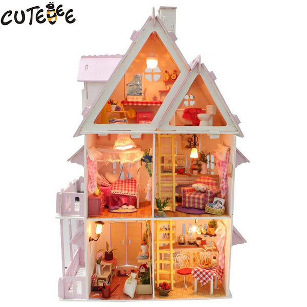 Hot Sale DIY Doll House Wooden Miniatura dollhouse Miniature Doll House With Furniture Kit Villa LED Lights Birthday Gift