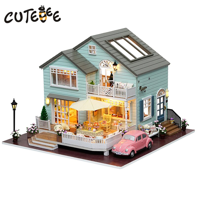 Doll House Miniature DIY Dollhouse With Furnitures Wooden House Cherry Blossom Toys For Children Birthday Gift