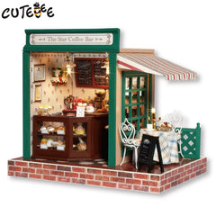 Doll House Miniature DIY Dollhouse With Furnitures Wooden House The Star Coffee Bar Toys For Children Birthday Gift