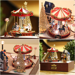 Doll House Miniature DIY Dollhouse With Furnitures Wooden House Toys For Children Birthday Gift merry go around