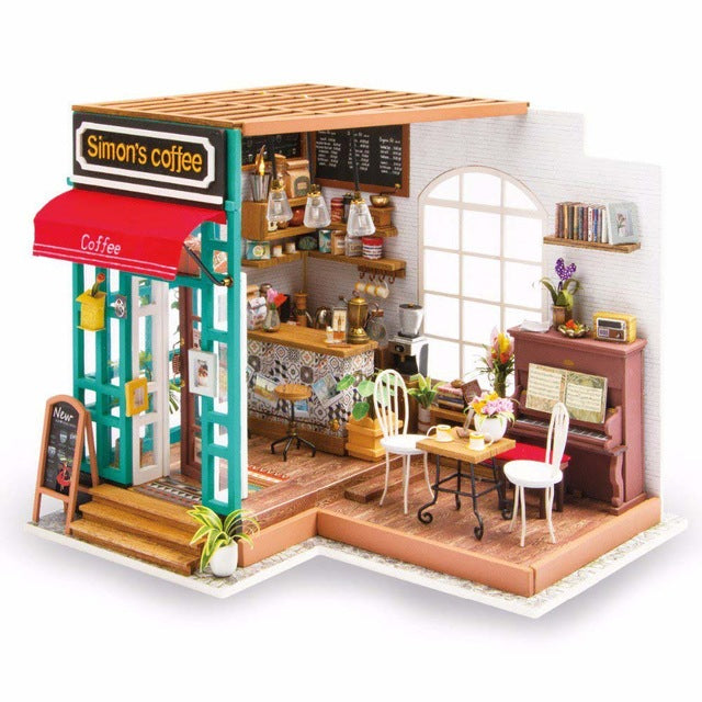 DIY Doll House Miniature Dollhouse With Furnitures Wooden House Toys For Children Simon's Coffee Robotime