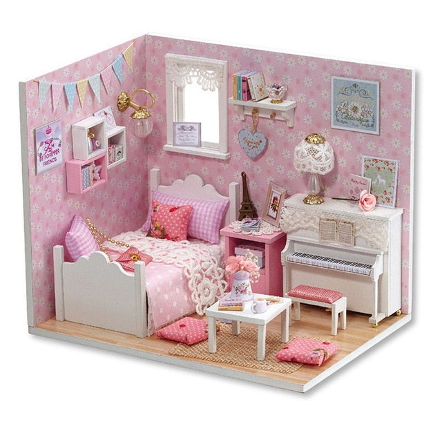 Doll House Furniture Diy Miniature Dust Cover 3D Wooden Miniaturas Toys for Children Birthday Gifts Kitten Diary