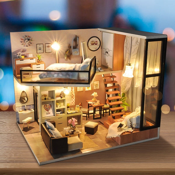 Sweet Dream DIY Dollhouse TD16 With Light Cover Miniature Model Gift Collection Decoration Doll House Children Adult Gift Toys