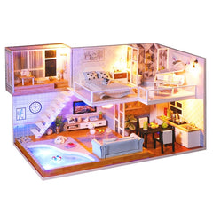 CUTEBEE Doll House Miniature Dollhouse With Furniture Kit Wooden House Miniaturas Toys For Children New Year Christmas Gift
