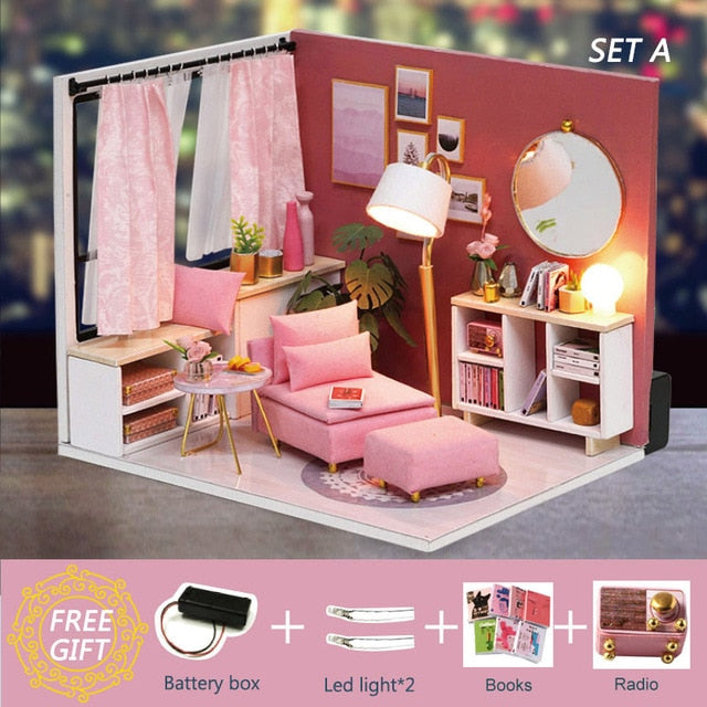 Cutebee Doll House Furniture Miniature Dollhouse DIY Miniature House Toys for Children DIY Dollhouse Gift for Birthday H18-4