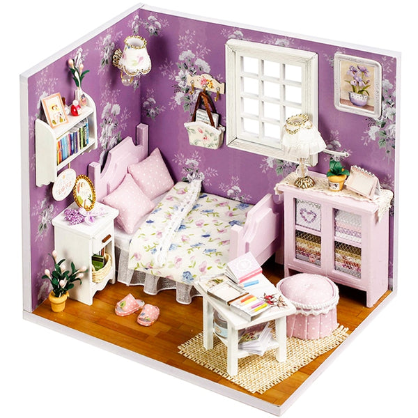 Cutebee Doll House Furniture Miniature Dollhouse DIY Miniature House Box Theatre Toys for Children stickers DIY Dollhouse H01