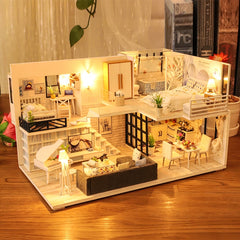 DIY Dollhouse Wooden doll Houses Miniature Doll House Furniture Kit Casa Music Led Toys for Children Birthday Gift