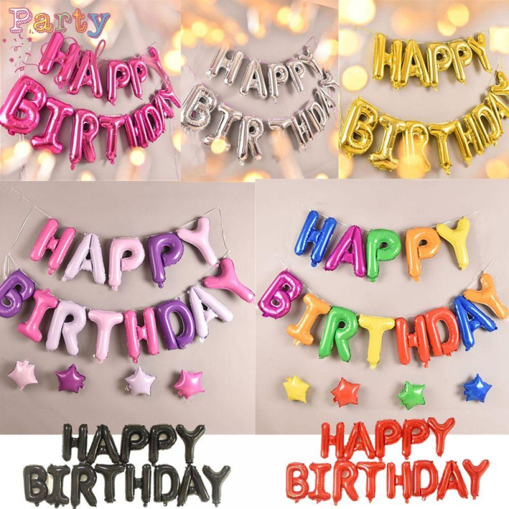 Inflatable Happy Birthday Balloon with String and Straw, Balloons by Generise