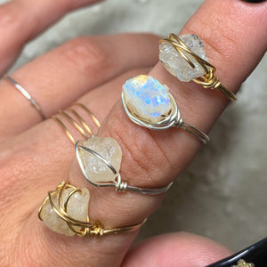 Raw Moonstone Ring June Birthstone