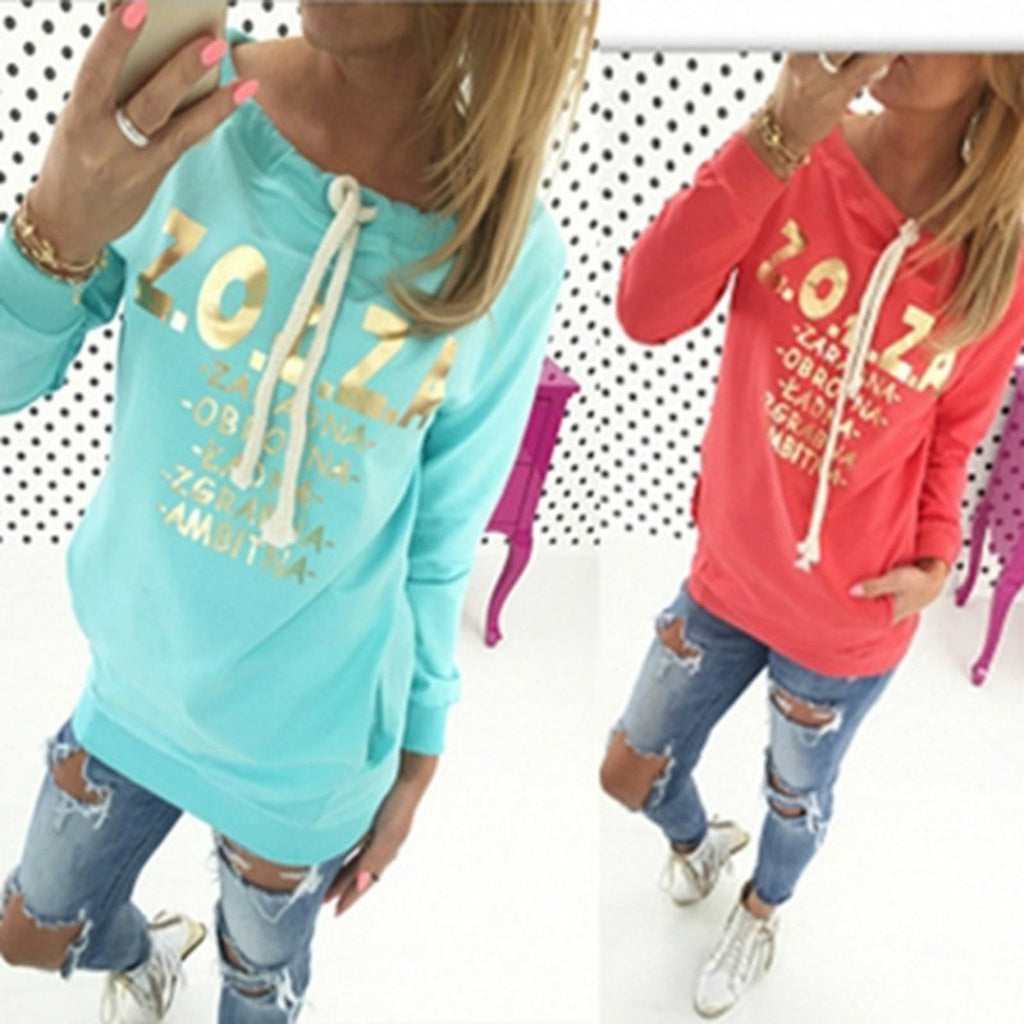 Pull Manches Longues Imprimé Lettres -  - Casual So'Fame