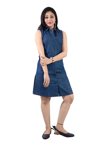 Trender Casual Collar Denim Dress (Blue)