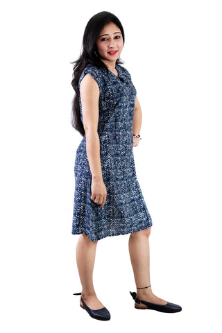 Trender  Blue Printed Casual  Dress (Blue)