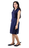 Trender Casual Collar  Dress (Blue)