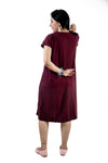 Trender Maternity Knee Length Casual,Pregnancy Dress(Wine)