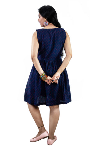 Trender Casual Round   A-line  Polka dot  Dress (Blue)