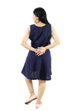 Trender  Casual  Dress With Belt (Blue)