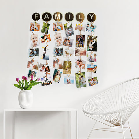 VAH FAMILY WOODEN HANGING PHOTO DISPLAY WITH WOOD CLIPS