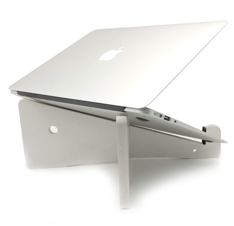 VAH White X Detachable Laptop Vertical Holder Wooden Laptop Stand