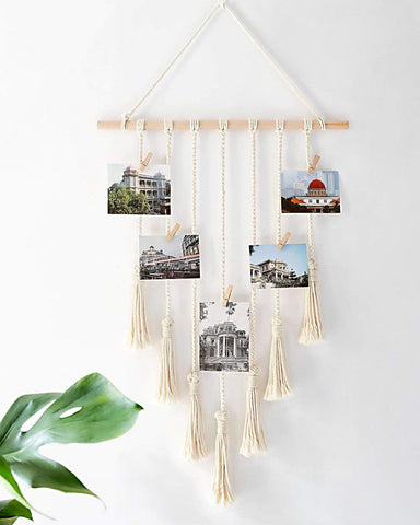 VAH  MACRAME WOODEN HANGING PHOTO DISPLAY WITH WOOD CLIPS