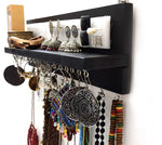 VAH Jewelry Organizer with Bracelet Rod Wall Mounted l Wooden Wall Mount Holder for Earrings, Necklaces, Bracelets, and Many Other Accessories