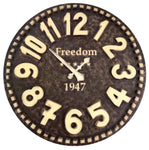 VAH Vintage Freedom 1947 Hand Crafted Wooden Wall Clock, Large/78X78 cm