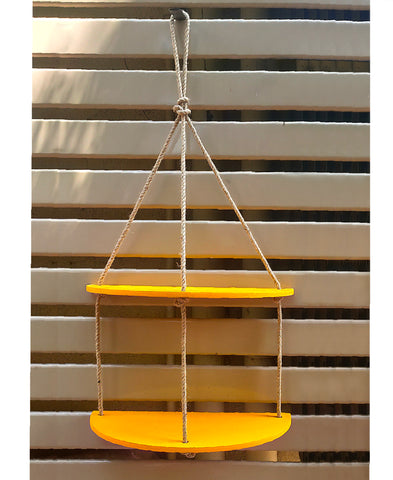 VAH Half Oval  Yellow 2 Layer Wall Hanging Shelf, Wood Floating Shelves