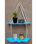 VAH Blue Cloud Design 2 Layer Wall Shelf  Wood Floating Shelves