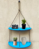 VAH Half Oval  Blue 2 Layer Wall Hanging Shelf, Wood Floating Shelves