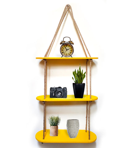 VAH Rectangle oval Yellow 3 Layer Shelf  Wood Floating Shelves