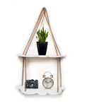 VAH White Cloud Design 2 Layer Wall Shelf  Wood Floating Shelves